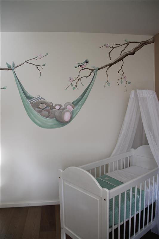 Muurschilderingen muurschildering muurschildering kinderkamer baby wallpainting - Wandbilder kinderzimmer junge ...
