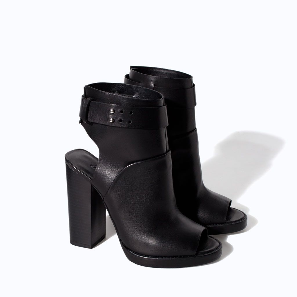 d9a066dded8 LEATHER HIGH HEEL PEEP TOE ANKLE BOOT from Zara... want. like so bad ...