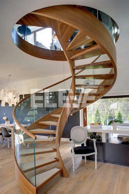 Escalera caracol sin columna central revestida en madera - Escaleras de caracol de madera ...