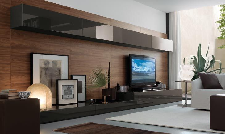Entertainment Center Very Masculine And Contemporary Corner View Of Open Wall System From The Jesse Sf Day Collection J Meuble Tv Moderne Mobilier De Salon