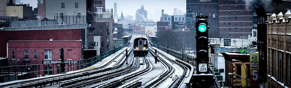 A view of the J train from the Flushing Avenue stop in East Williamsburg, Brooklyn, during one of December's many brief snowstorms. - NYTimes.com