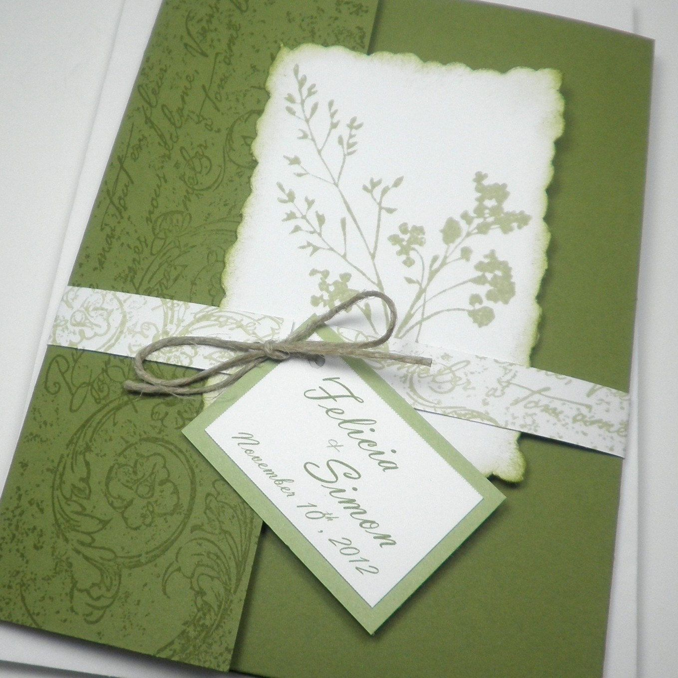 Green White Garden Fabulous Floret Pocketfold Wedding Invitation