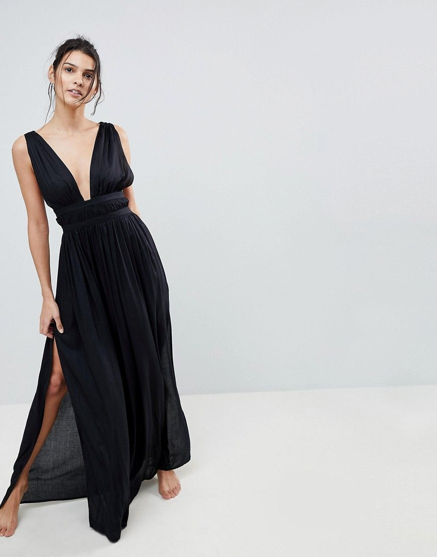 6fa7dc0c5b DESIGN grecian plunge maxi woven beach dress | Products | Dresses ...
