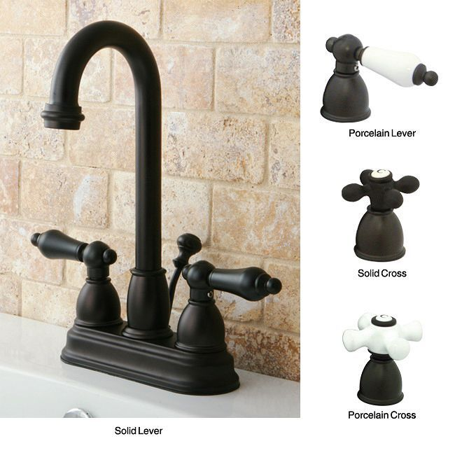 Add a luxurious, old-world feeling to your home with these high-arc oil-rubbed bronze bathroom faucets. Each faucet is designed with lever-style handles, a drip-free cartridge, and a swiveling faucet, so you can reach all corners of your sink.