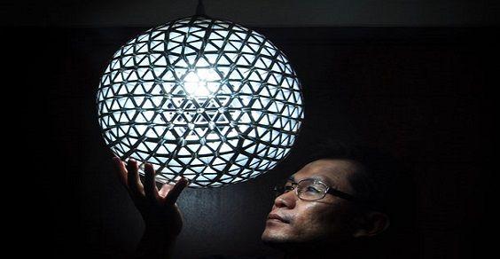 Lampada Origami Di Edward Chew : Come realizzare lampade e lampadari dai contenitori in tetra pack