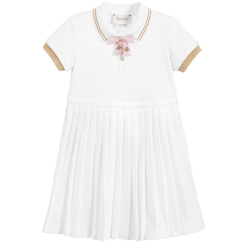 326783265dbd Baby Girls White Piqué Cotton Polo Shirt Dress
