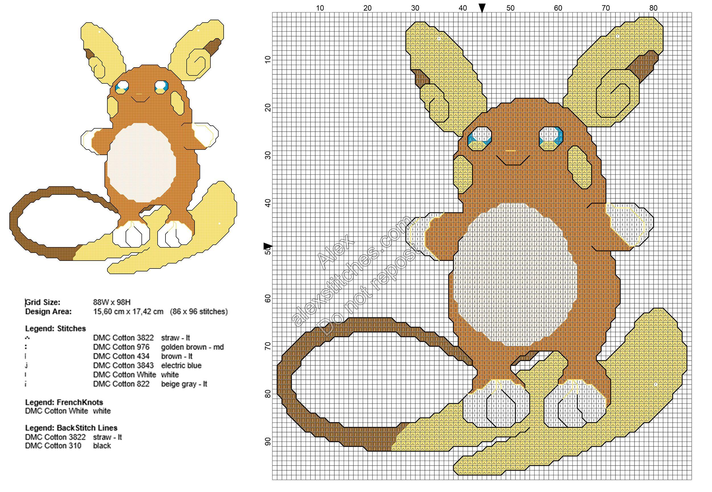 Pokemon Sun Moon Raichu Alola Free Cross Stitch Pattern