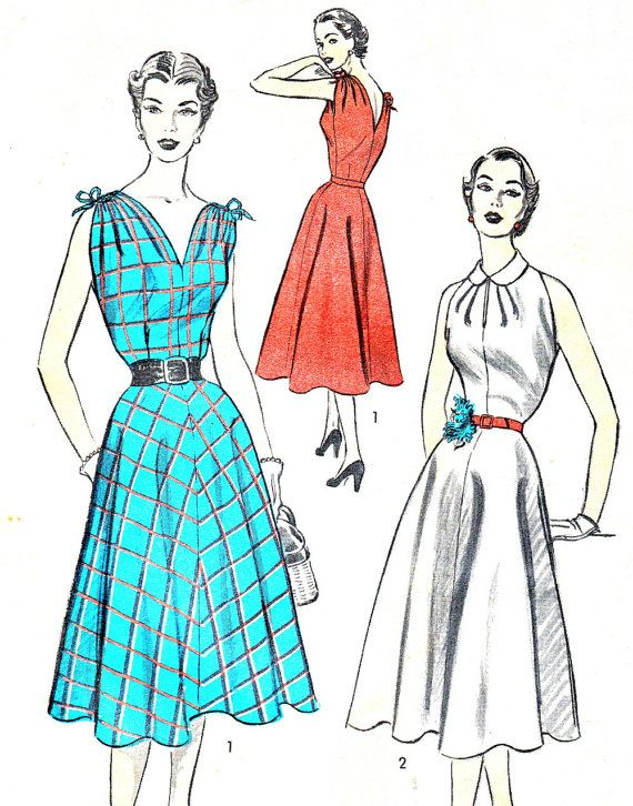 1950s Dress Pattern Advance 6398 Sleeveless Full by paneenjerez ...