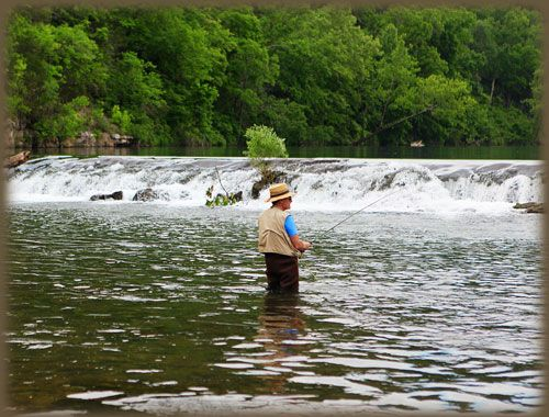The waterfall at dawt mill tecumseh missouri not far for Fly fishing missouri