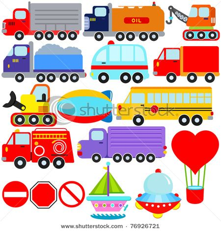 Cartoon Vehicles With Images Transportation Theme