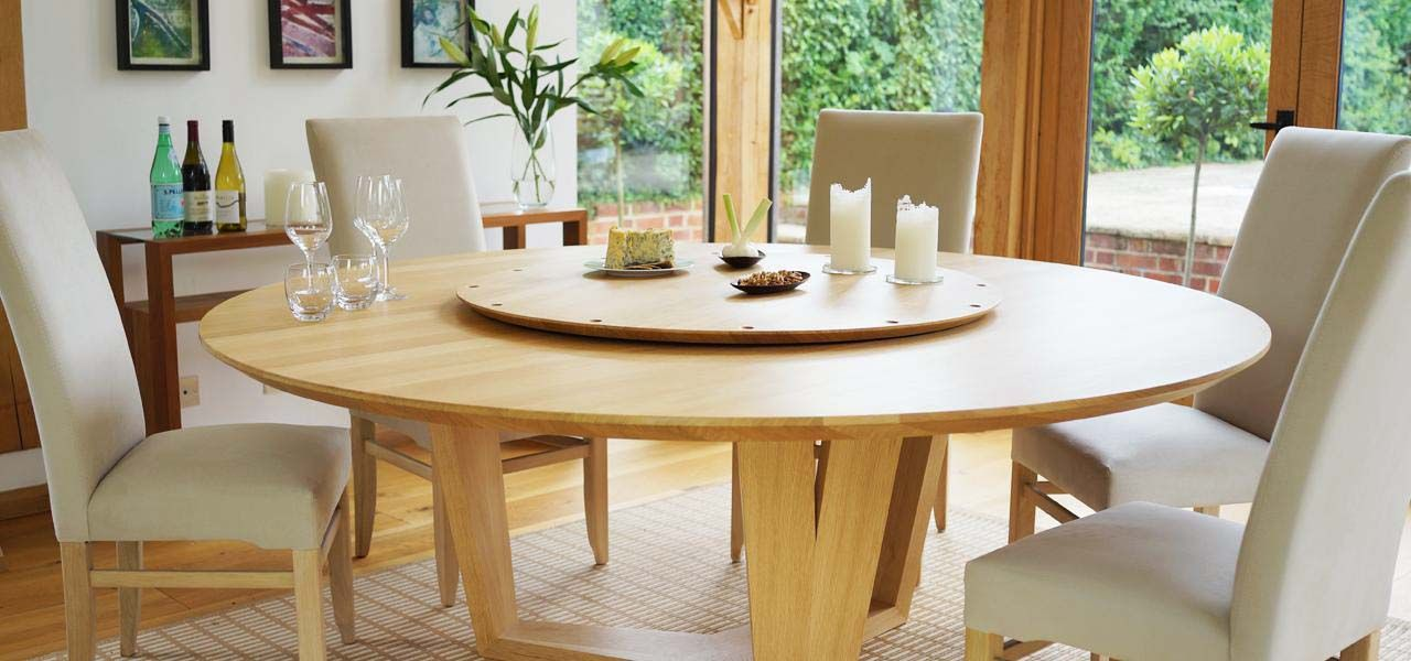 Orbit Lazy Susan Round Dining Table Can Seat Up To 14 People Circular Dining Table Large Round Dining Table Round Dining Room Table