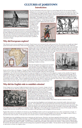 here s an essay on the many different cultures found at jamestown  here s an essay on the many different cultures found at jamestown
