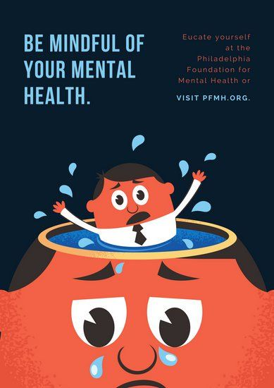 orange and blue depressed man mental health poster che pinterest