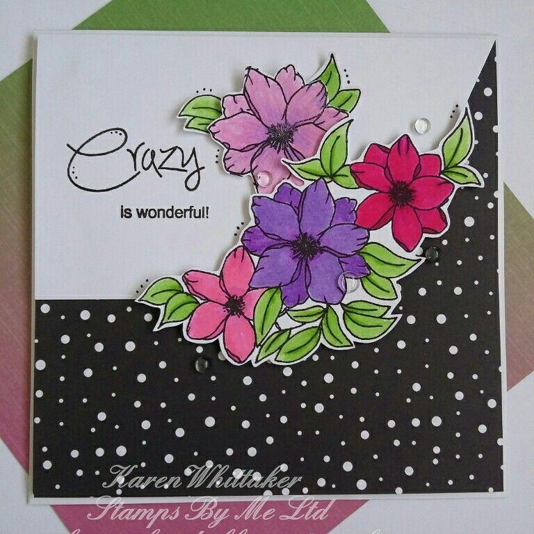 Stamps By Me Crazy stamp set #stampsbyme #crazystampset #flowers #dtsample #stamping #stamps #kuretakezig #cards #cardmaking #handmade #craft