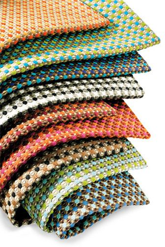 Pollack - Snap fabric is woven entirely from post-consumer recycled polyester. Measuring 54 inches wide, it comes in nine colorways: Gum Drop, Parrot, Turquoise and Amethyst, Dice, Curry, Hot Lips, Peppercorn, Spa, and Ol' Blue Eyes. 212-627-7766; pollackassociates.com.