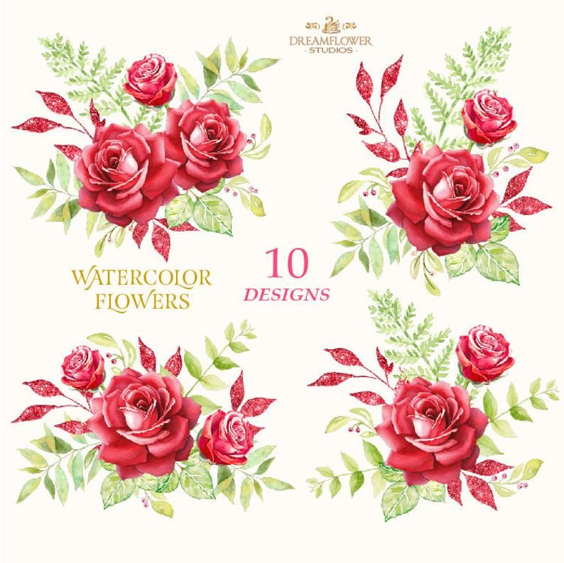 Red Roses Watercolor Clipart Red Flower Clipart Roses Etsy Flower Clipart Watercolor Clipart Red Flowers