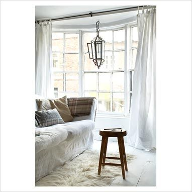bay window, curtains straight across to allow more light, love the
