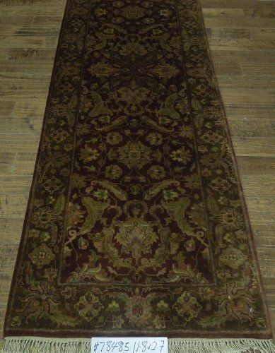 """Hand Knotted Wool Hall Runner Closeout by BenjaminRugImports. $750.00. 140""""x31"""". Agra Design made in India Hand Knotted. Burgundy, Brown. Hand Spun Wool"""