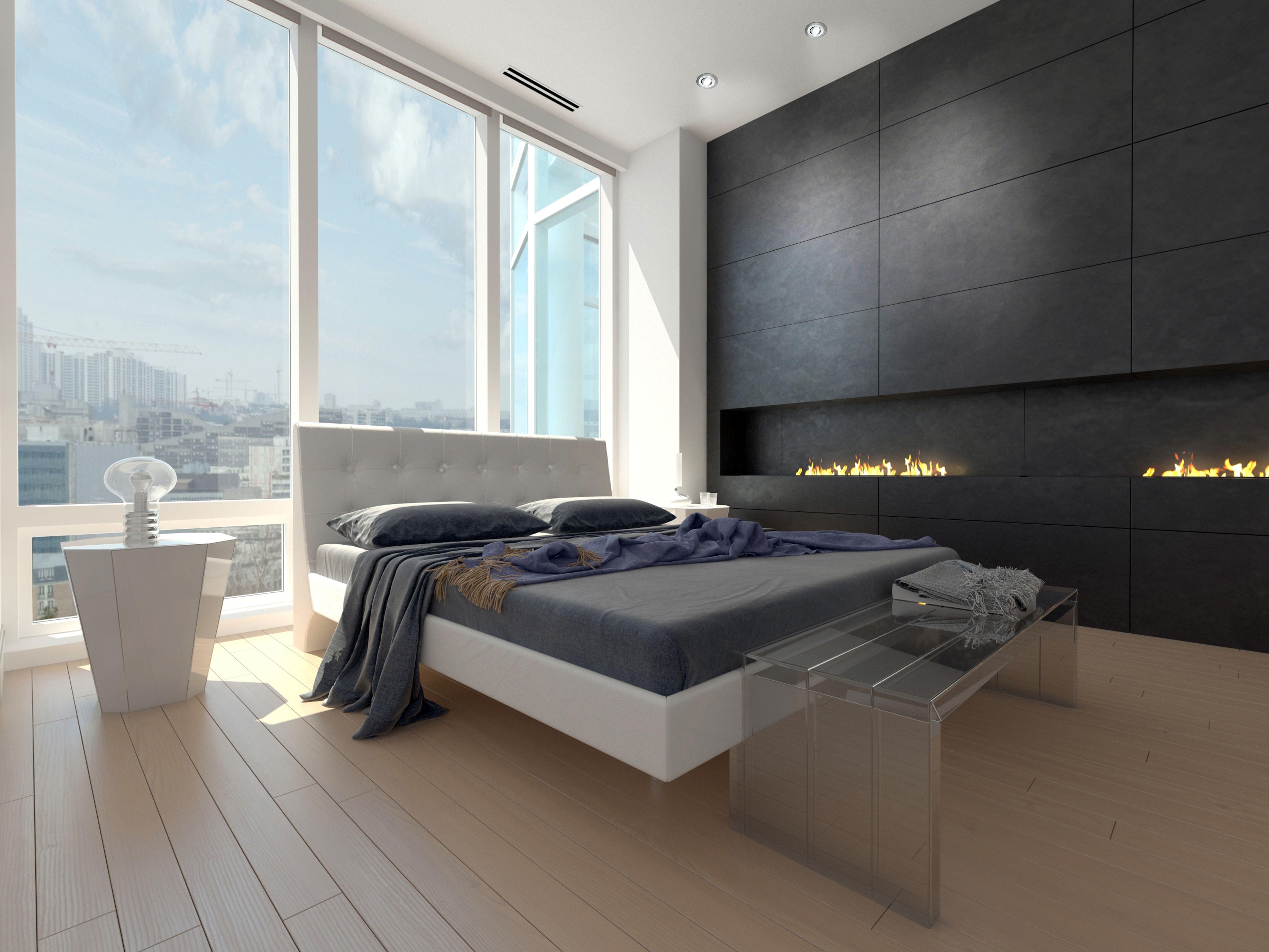 Dormitorio de estilo moderno con un dise o minimalista grandes cristaleras y focos empotrables - Focos para dormitorios ...