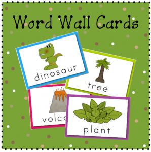 Word wall cards for my preschool dinosaur theme