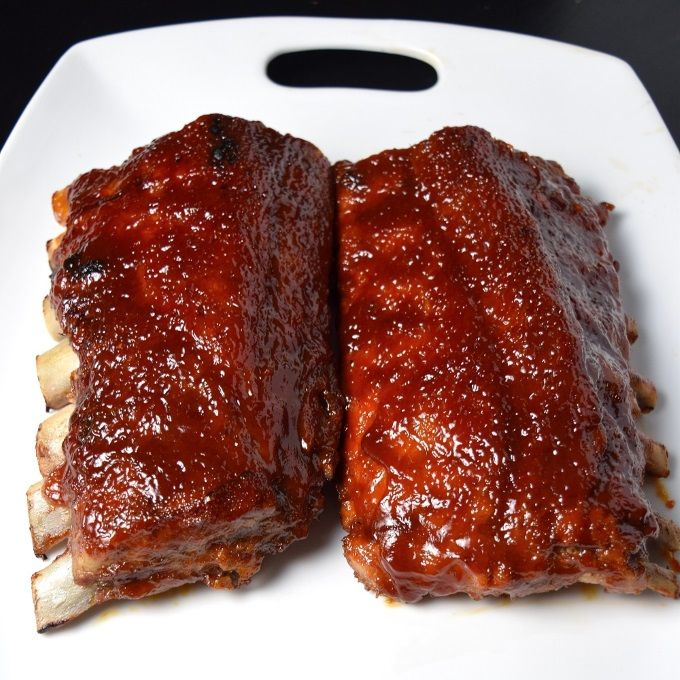 Glazed Bbq Ribs In The Oven On A Plate Baked Bbq Ribs Baked Ribs Rib Recipes