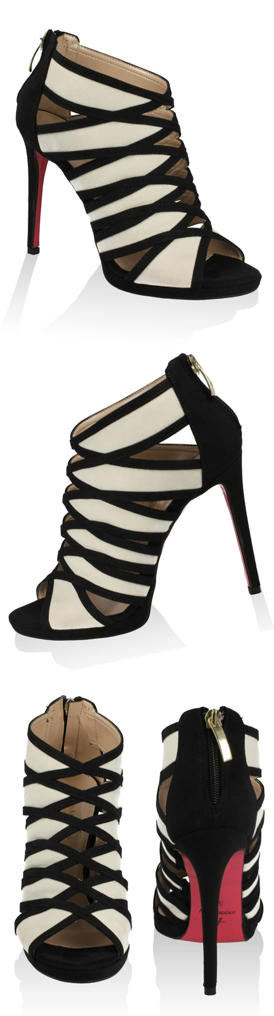 So so pretty black & white sandal booties! All leather & under $130 #MadeinItaly