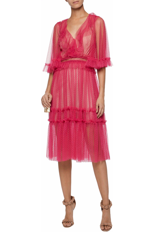 Ruffled point d'esprit midi dress | SACHIN & BABI | Sale up to 70% off