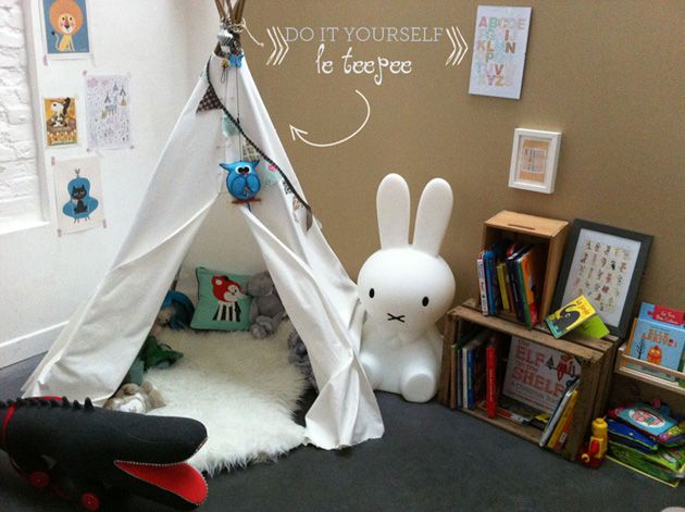 lui faire un tipi dans sa chambre diy kids pinterest chambres faire et diy. Black Bedroom Furniture Sets. Home Design Ideas