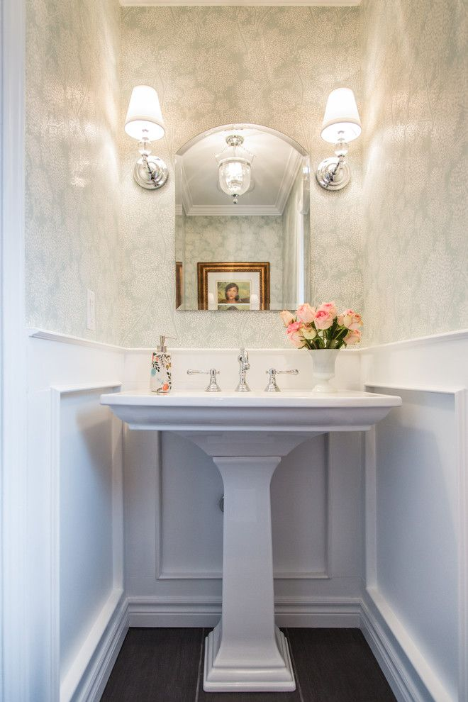 Powder bath ideas powder room traditional with gold frame - Powder room sink ideas ...