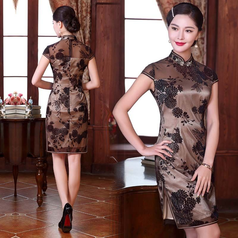 Coffee brown small floral flocking traditional Chinese dress:capsleeve; around knee middle length qipao; mandarin collar; semi transparent fabric; slits on both sides; with light color lined; inv...