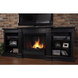 Real Flame Fresno Black 71.73 in. L x 18.98 in. D x 29.88 in. H ...