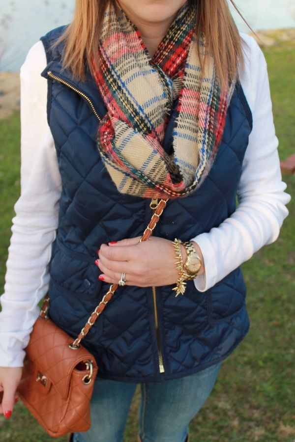 Navy Quilted Vest, Plaid Scarf | Style Inspiration | Pinterest ... : quilted vest navy - Adamdwight.com