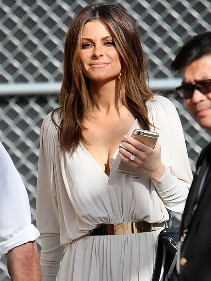 maria menounos shows off massive engagement sparkler as she appears on jimmy kimmel live