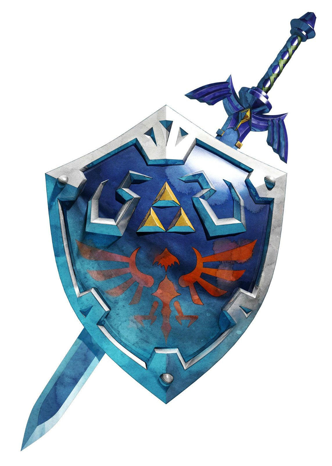 Framed Print Zelda Hylian Shield With Sword Picture Poster Art
