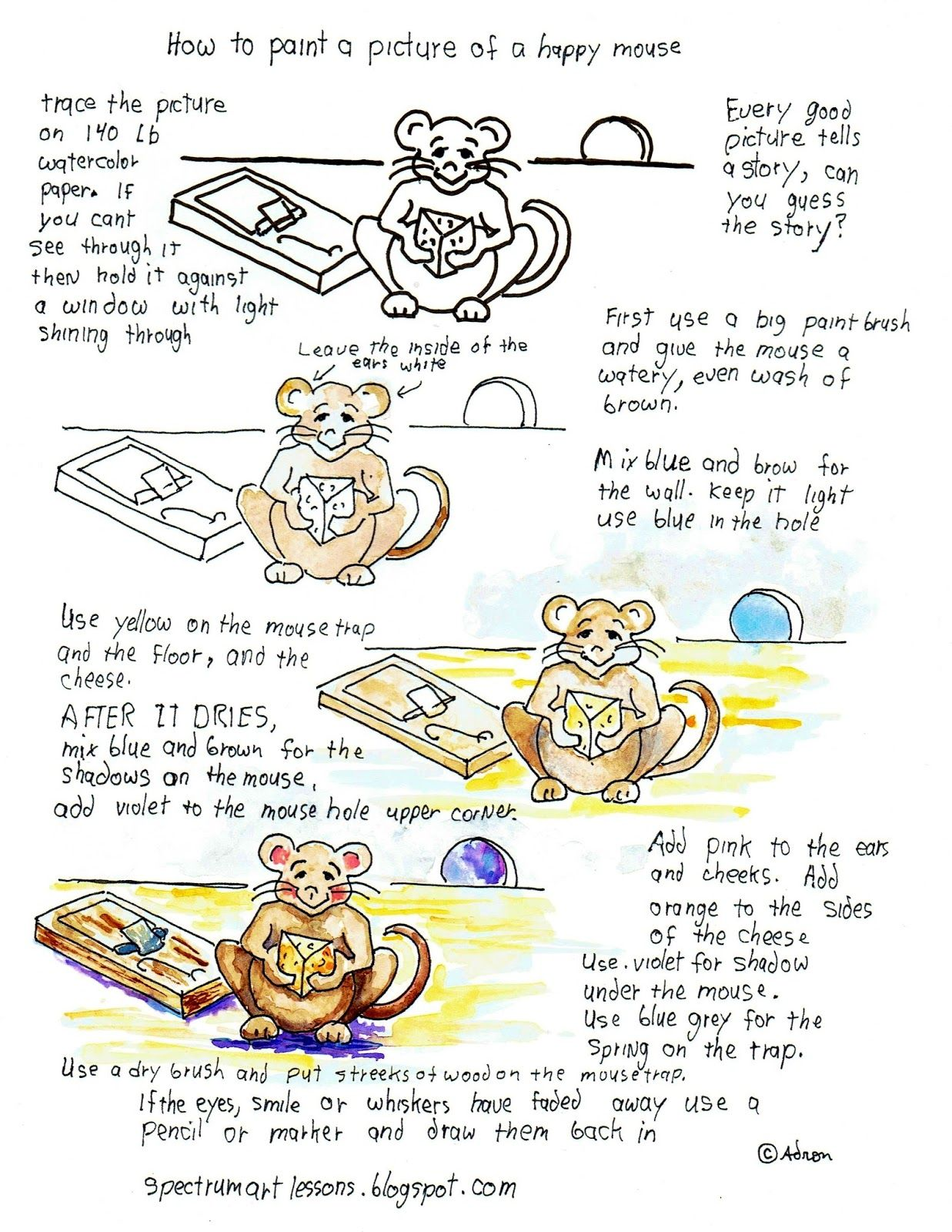 How To Paint A Happy Mouse Watercolor Printable Worksheet