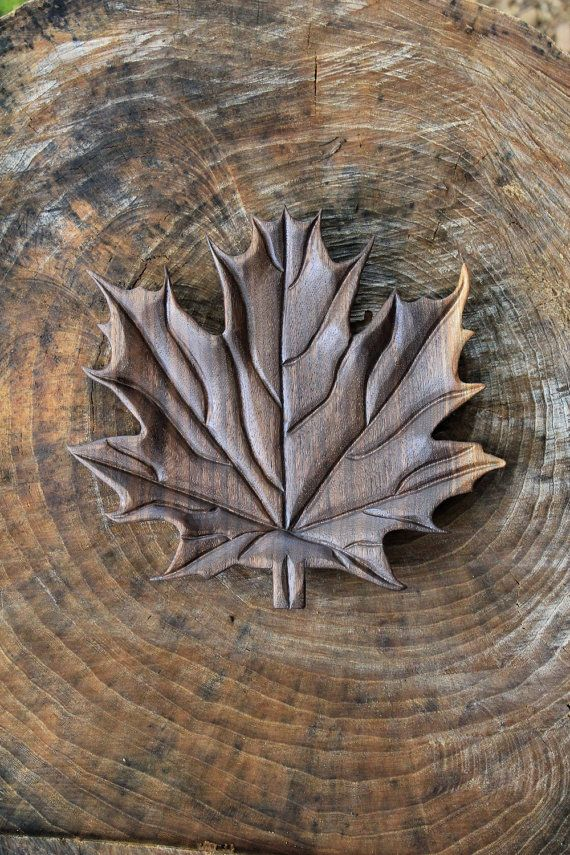 Hand carved black walnut wood maple leaf serving by
