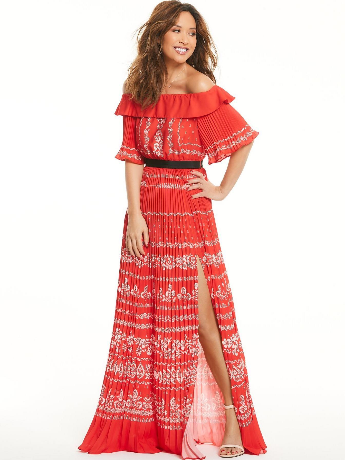 Littlewoods dresses for weddings  Boho babe Myleene Klass teases at her honed pins in bardot maxi