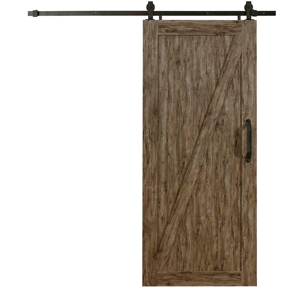 Pinecroft 36 in. x 84 in. Millbrooke Weathered Grey Z Style PVC Vinyl Barn Door with Sliding Door Hardware Kit