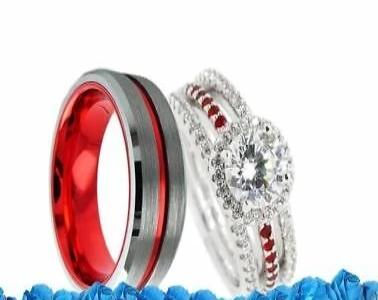 Thin Red Line Firefighter Couples Wedding 4 Ring Set Women S Bridal Set Rings Set Men S Silver W Red Groove Tungsten Band Fire Fighter Rings Fire Usa Couple Wedding Rings Bridal Ring
