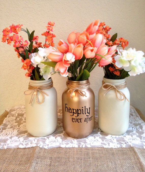 happily ever after gold mason jar vase hand by stitchandcaboodle 1600 coral wedding centerpieces