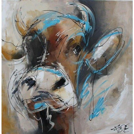 Sweet blue cow. Lieve bruine koe, ze is zo nieuwsgierig!