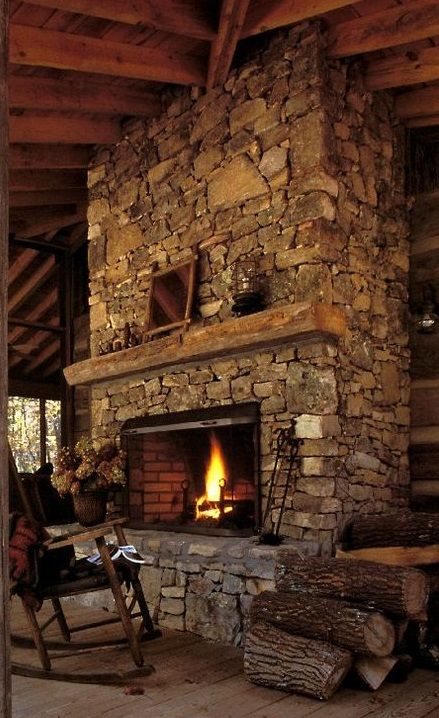 Large Stone Fireplace With Images Rustic Outdoor Fireplaces