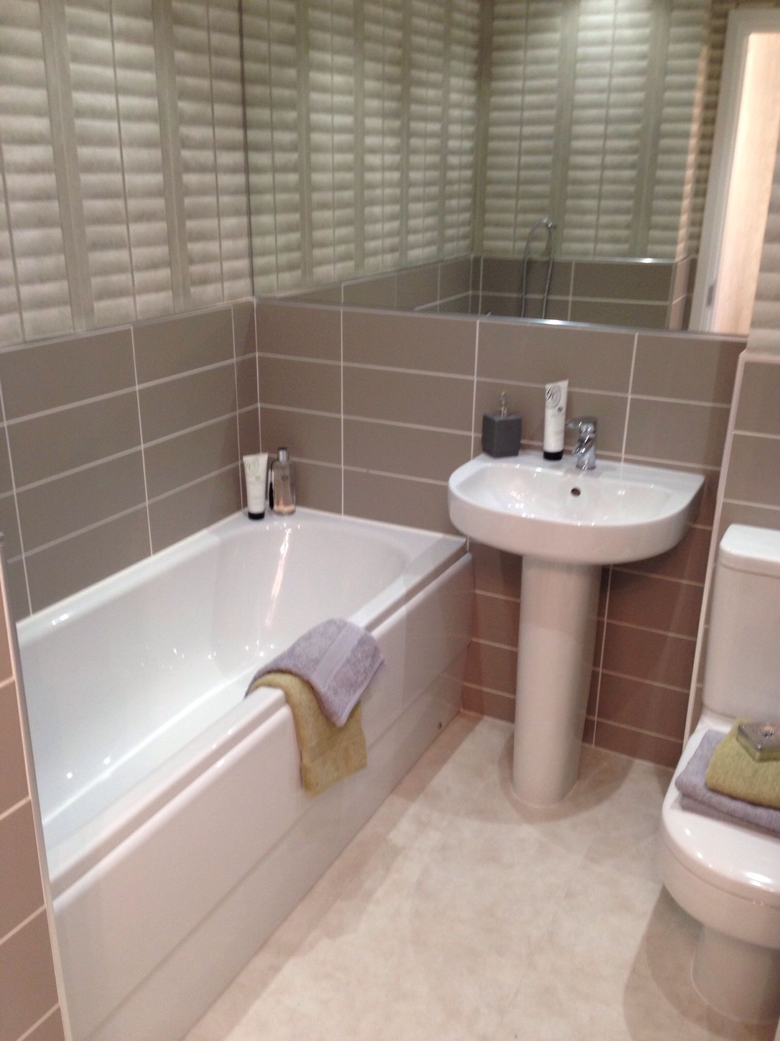 Cream Tiles Bathroom Ideas Part - 20: Show Home Bathroom. Barratt Homes. Brown And Cream Tiles.