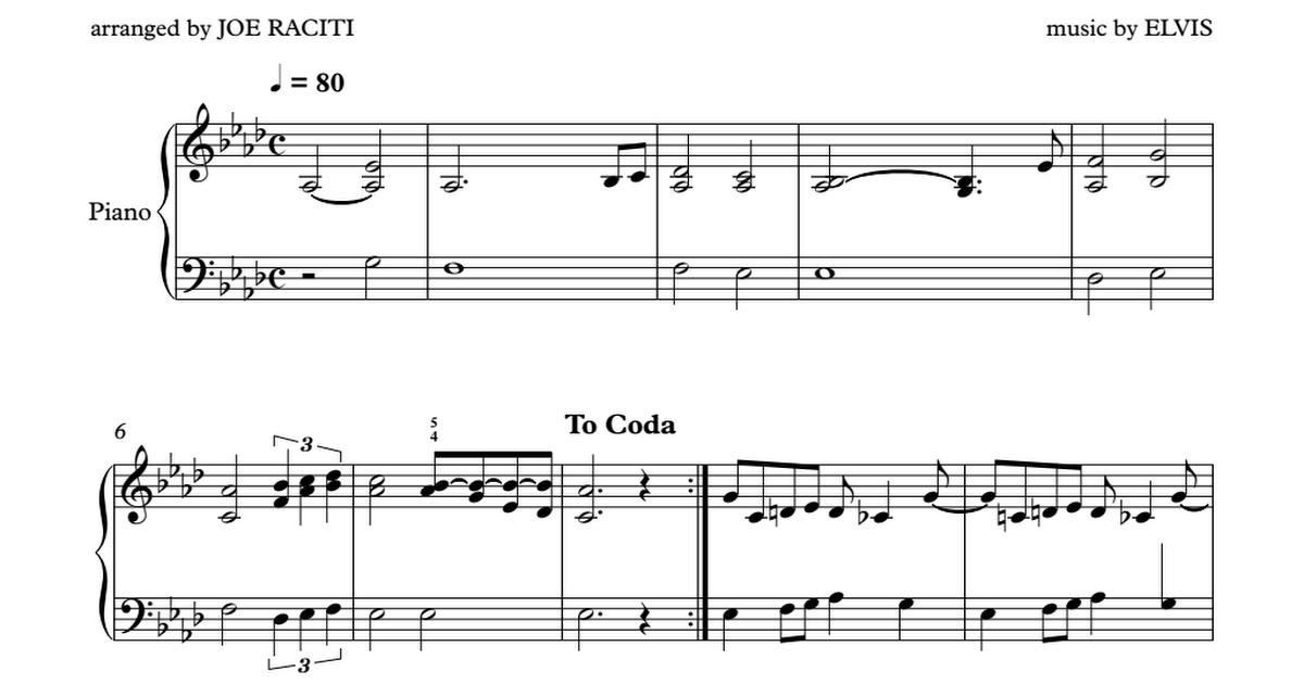 CAN'T HELP FALLING IN LOVE PIANO SHEET MUSIC - Full Score.pdf ...