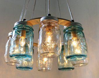 Lustre en pot Mason, Beach House Mason Jar luminaire, bleu et clair ...
