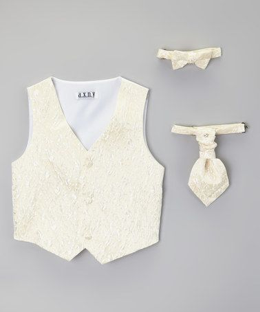 Ivory Floral English Vest Set - Toddler & Boys by AXNY