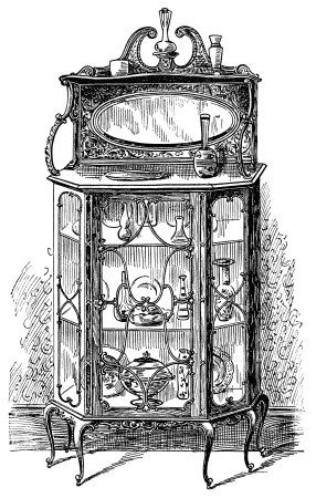 Victorian Furniture Illustration Black And White Graphics Vintage Clipart Dining Room Cabinet