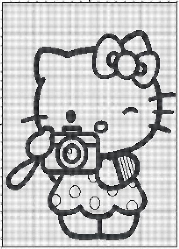 Filet Haken Patroon Hello Kitty Photo Van Mowehappy Op Etsy Pixel