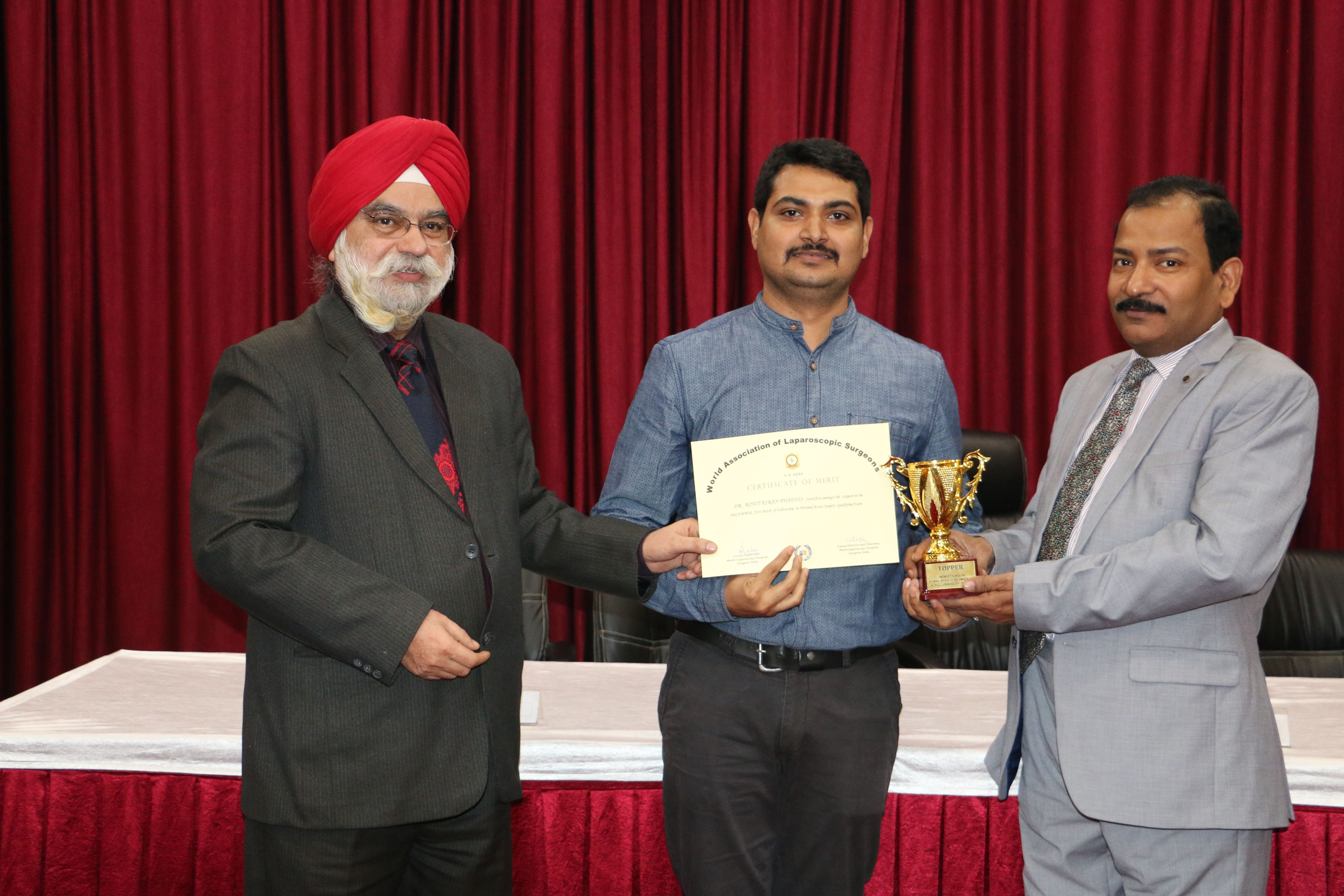 Dr. Rohit Kiran Phadnis receiving certificate of  Fellowship in Minimal Access Surgery at World Laparoscopy Hospital. For more detail please log on to www.laparoscopyhospital.com