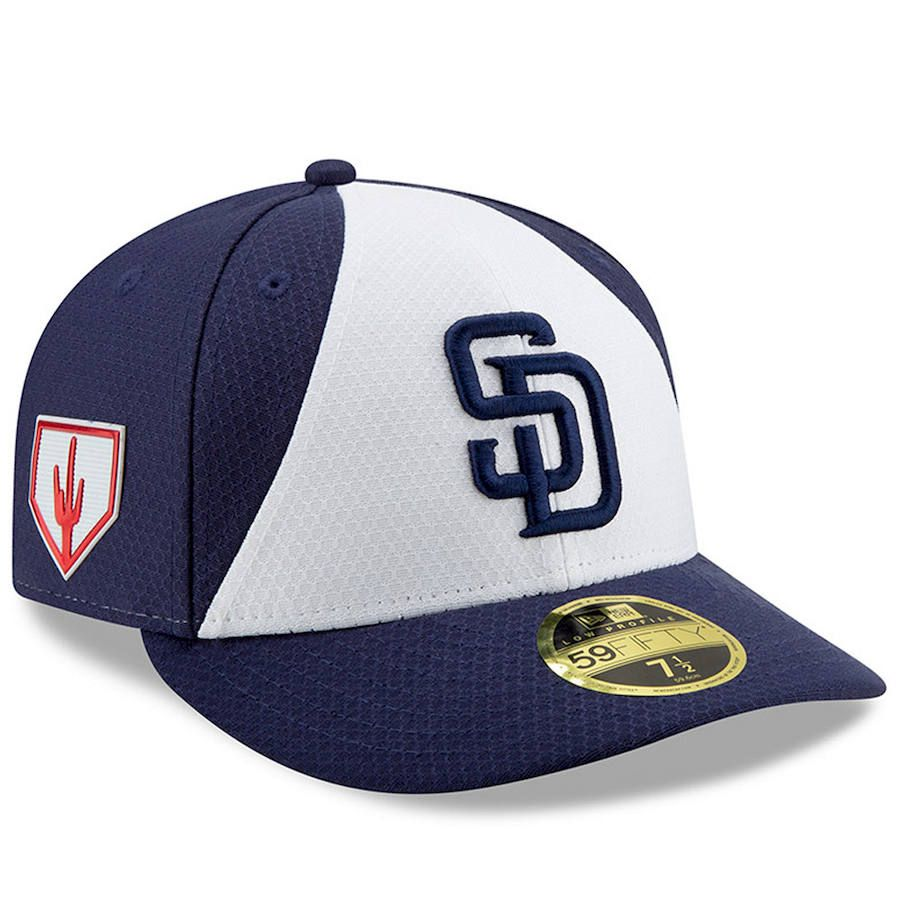 Men s San Diego Padres New Era White Blue 2019 Spring Training Low Profile  59FIFTY Fitted Hat 602af15bb434